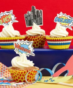 Ginger Ray Cupcake Toppers and Tins Pop Art Superhero