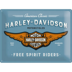 Nostalgic Art Tin Sign Harley Davidson Logo Blue 40x30
