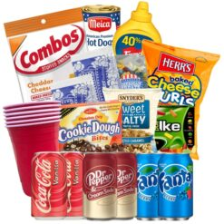 American TV Bundle with American snacks and drinks.