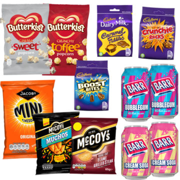 British movie night for two package with sweet and savory snacks.