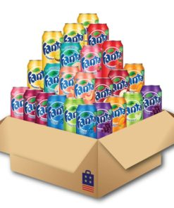 Fanta package with 24 cans of Fanta in 11 different flavors.