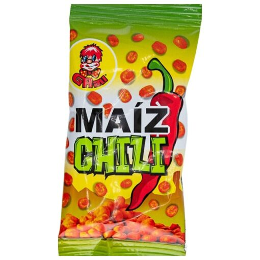 Graunuts Maiz Chili snack 45g is a roasted and salted corn snack with chilipoweder. 45 gram.