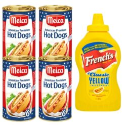 Hot Dog bundle of 4 cans of Meica American style hot dogs and one bottle of Frenchs classic yellow mustard of 397 gram.