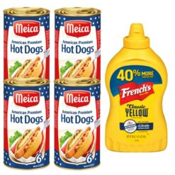 Hot Dog bundle of 4 cans of Meica American style hot dogs and one bottle of Frenchs classic yellow mustard of 597 gram.