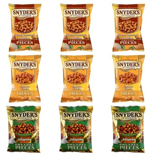 Three different flavors of Snyders of Hanover Pretzel Pieces x3
