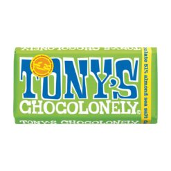 Tony's Chocolonely Dark Chocolate with Almonds and Seasalt 180g.